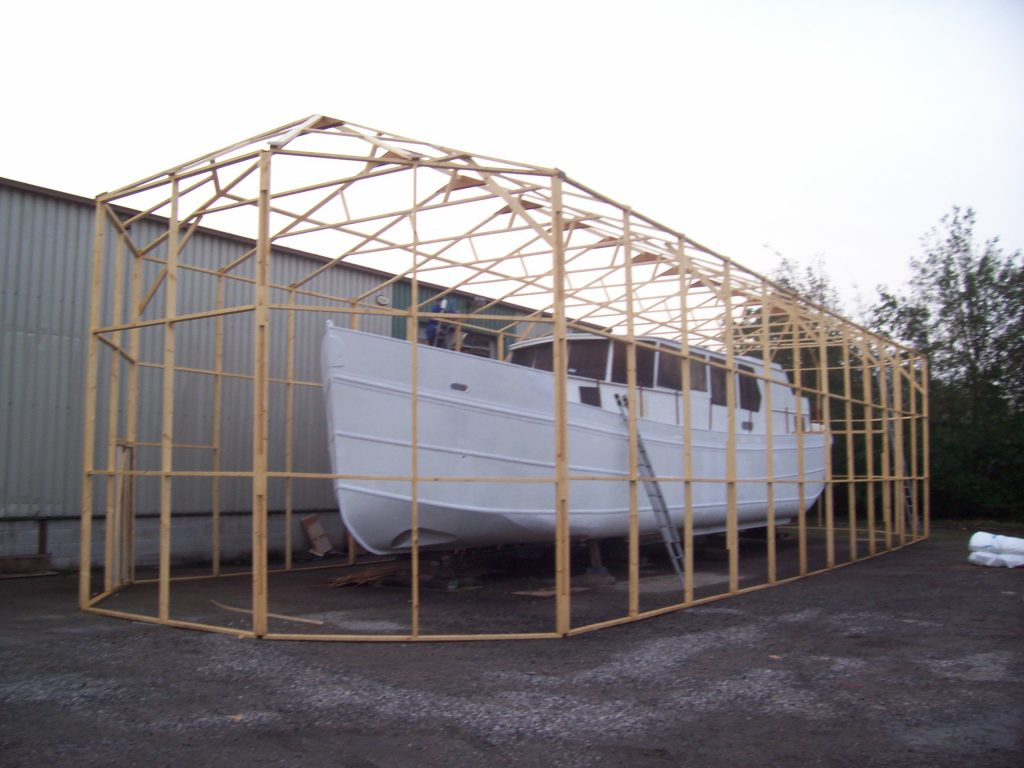 Larger frame constructed all around boat